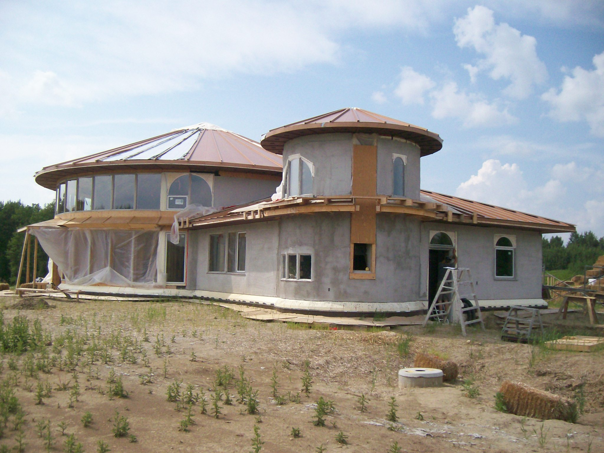 Solar Dragon House - Second coat of stucco